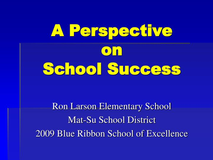 A perspective on school success