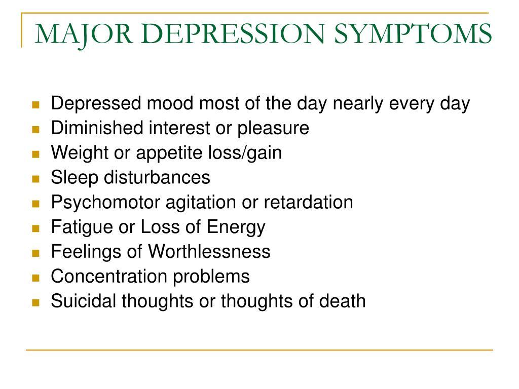 MAJOR DEPRESSION SYMPTOMS