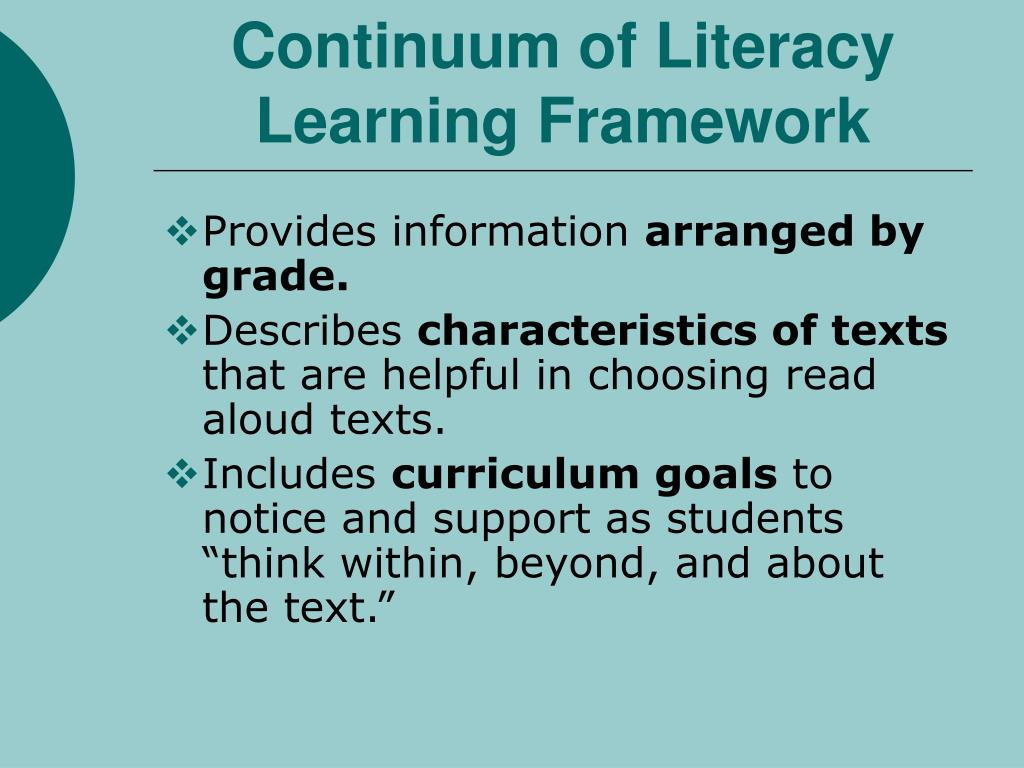 Continuum of Literacy Learning Framework