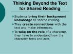 thinking beyond the text for shared reading
