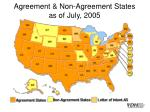 agreement non agreement states as of july 2005