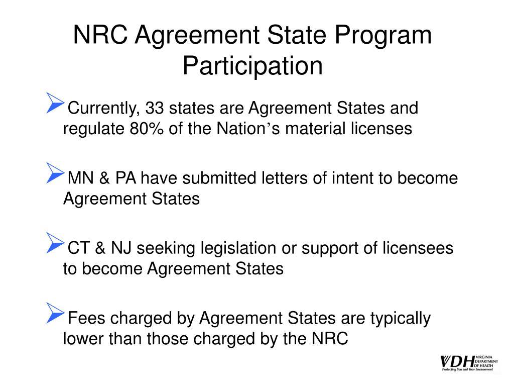 NRC Agreement State Program Participation