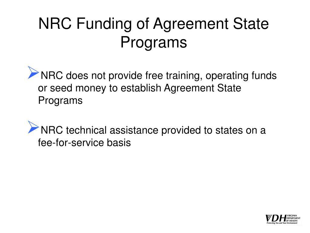 NRC Funding of Agreement State Programs