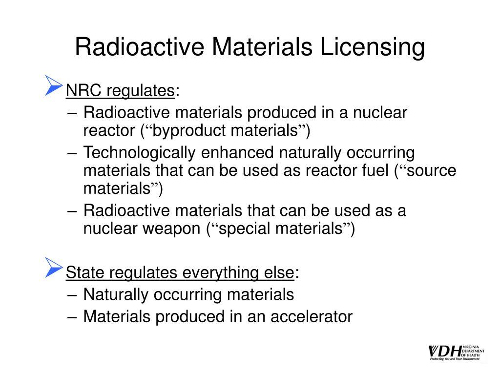 Radioactive Materials Licensing