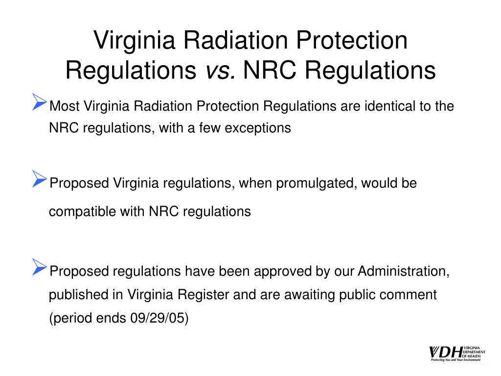 Virginia Radiation Protection Regulations