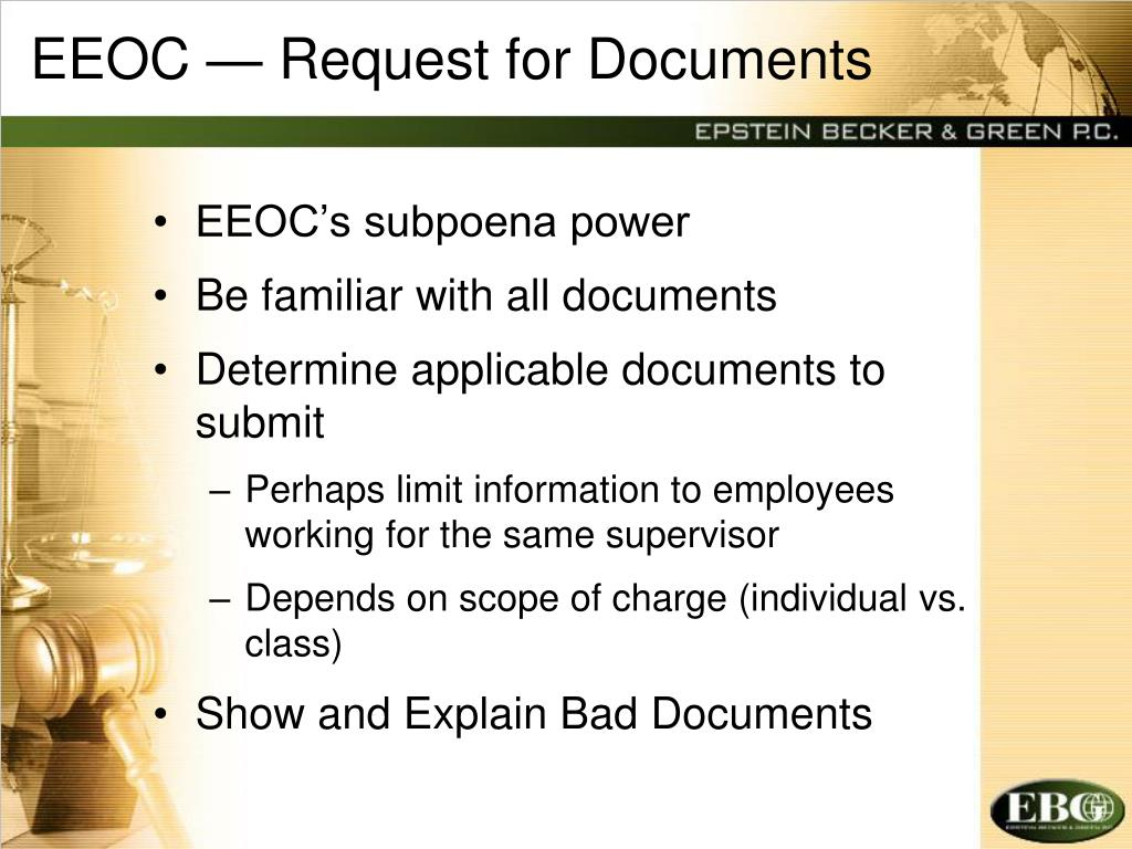 EEOC — Request for Documents