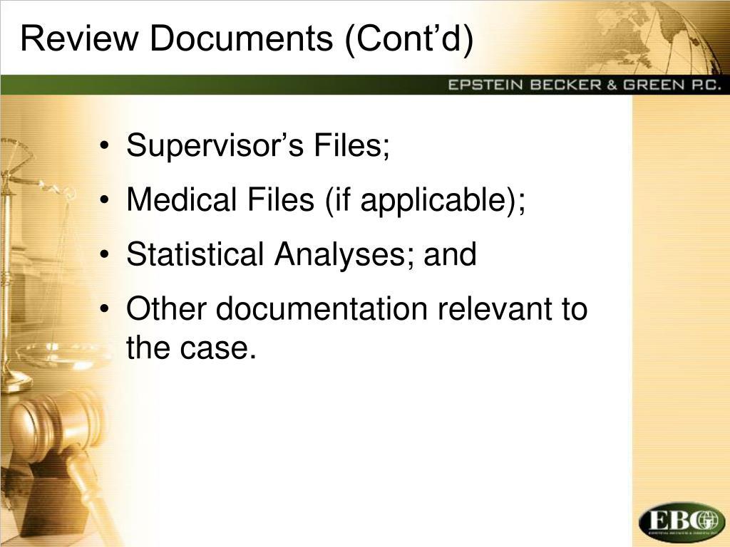 Review Documents (Cont'd)