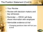 the position statement cont d