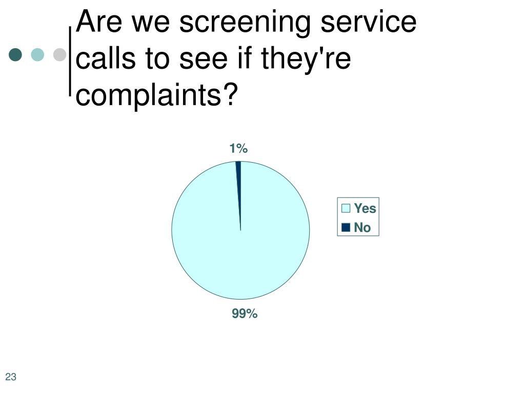 Are we screening service calls to see if they're complaints?