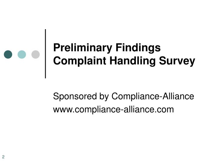 Preliminary findings complaint handling survey