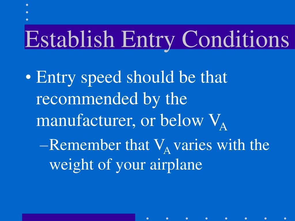 Establish Entry Conditions