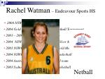 rachel watman endeavour sports hs netball