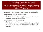1 develop justifying and motivating arguments supporting your theory