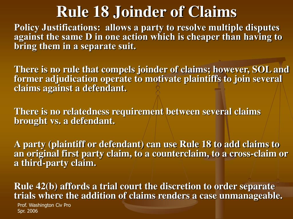 Rule 18 Joinder of Claims