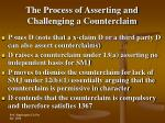 the process of asserting and challenging a counterclaim