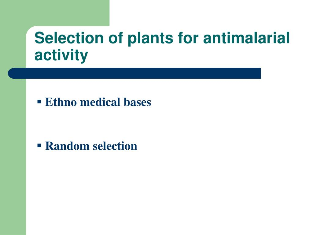 Selection of plants for antimalarial activity
