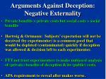 arguments against deception negative externality
