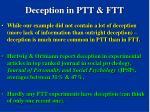 deception in ptt ftt