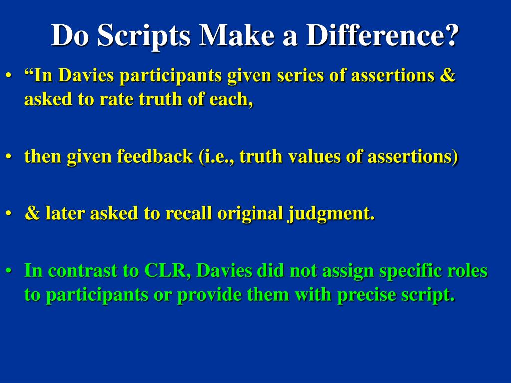 Do Scripts Make a Difference?