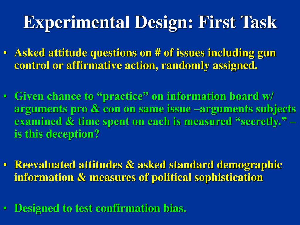 Experimental Design: First Task