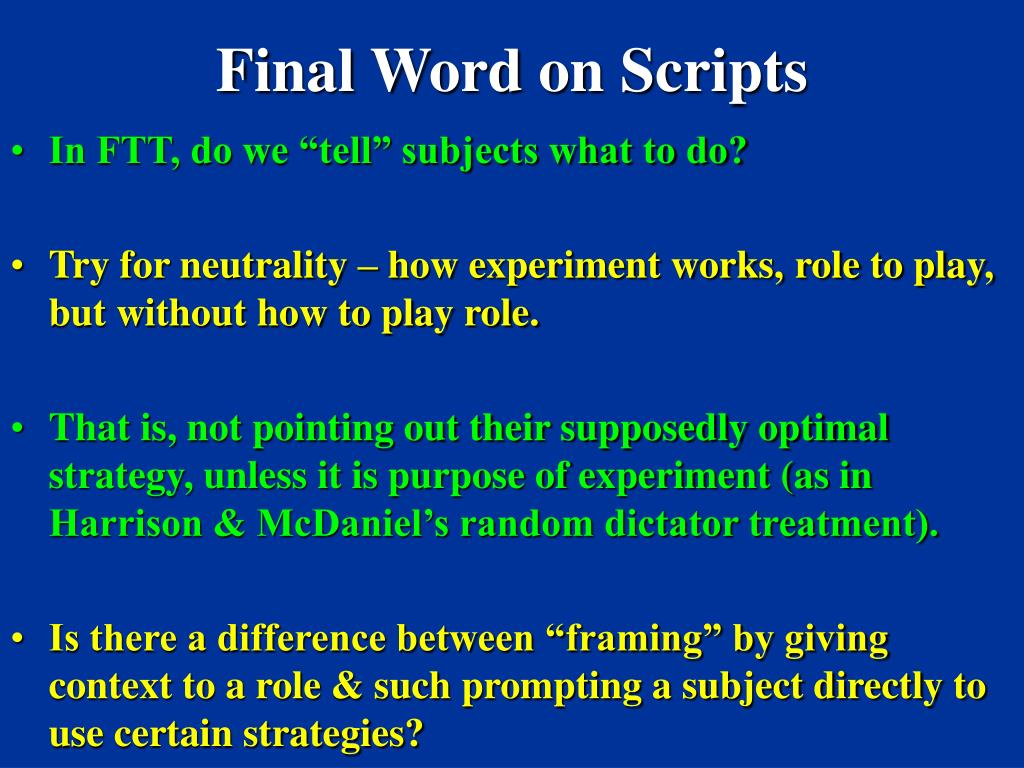 Final Word on Scripts