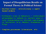 impact of disequilibrium results on formal theory in political science36