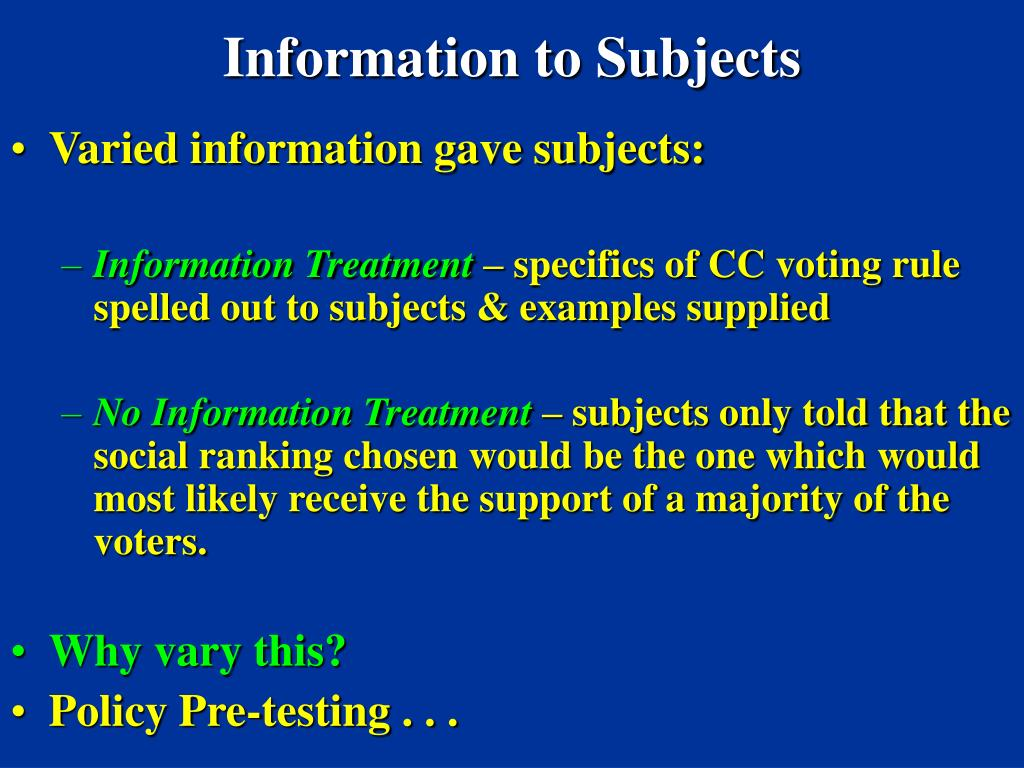 Information to Subjects