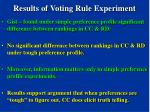 results of voting rule experiment