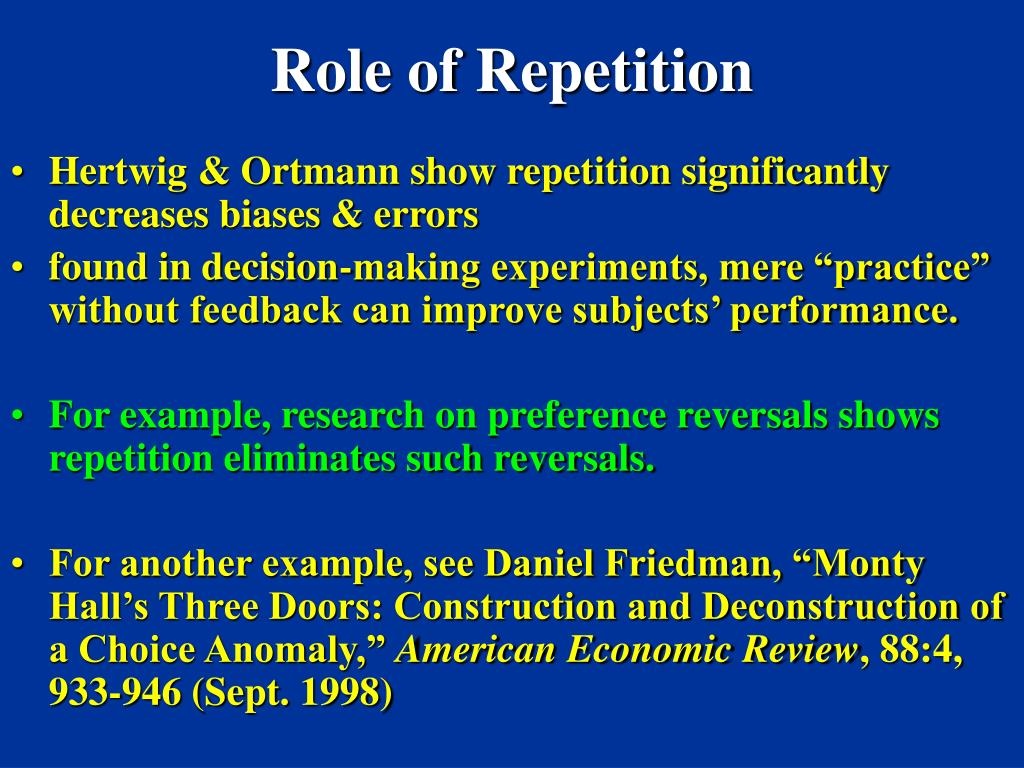 Role of Repetition