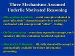 three mechanisms assumed underlie motivated reasoning