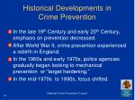 historical developments in crime prevention