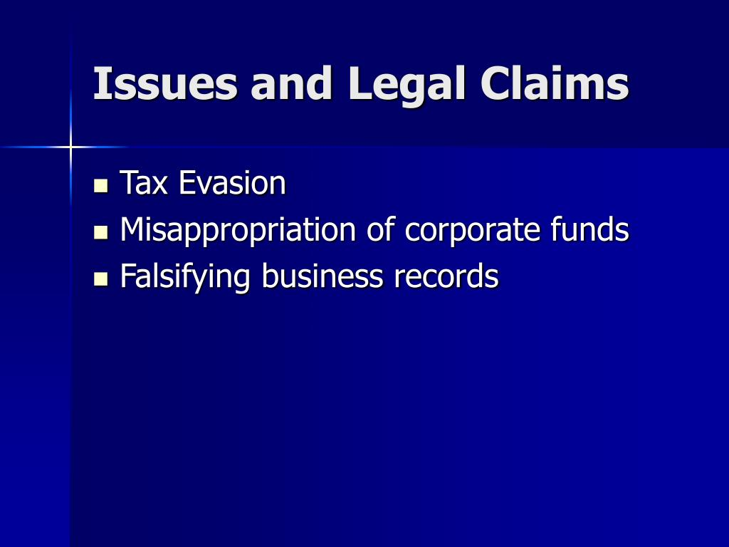 Issues and Legal Claims