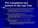 ftc complaints and actions in the last year