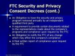 ftc security and privacy consent decrees cont