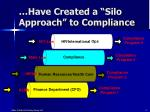 have created a silo approach to compliance