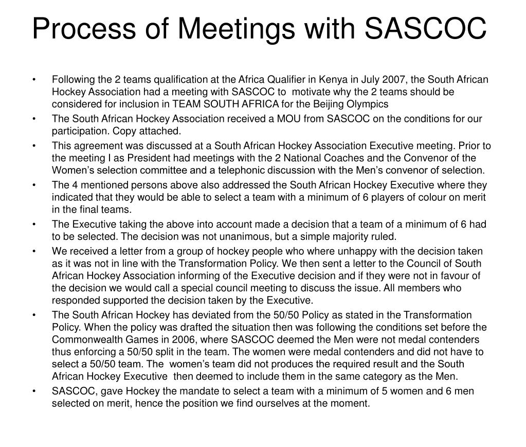 Process of Meetings with SASCOC