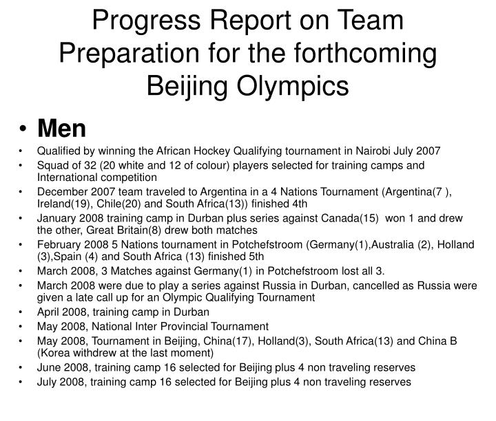 Progress report on team preparation for the forthcoming beijing olympics