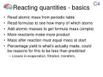 reacting quantities basics