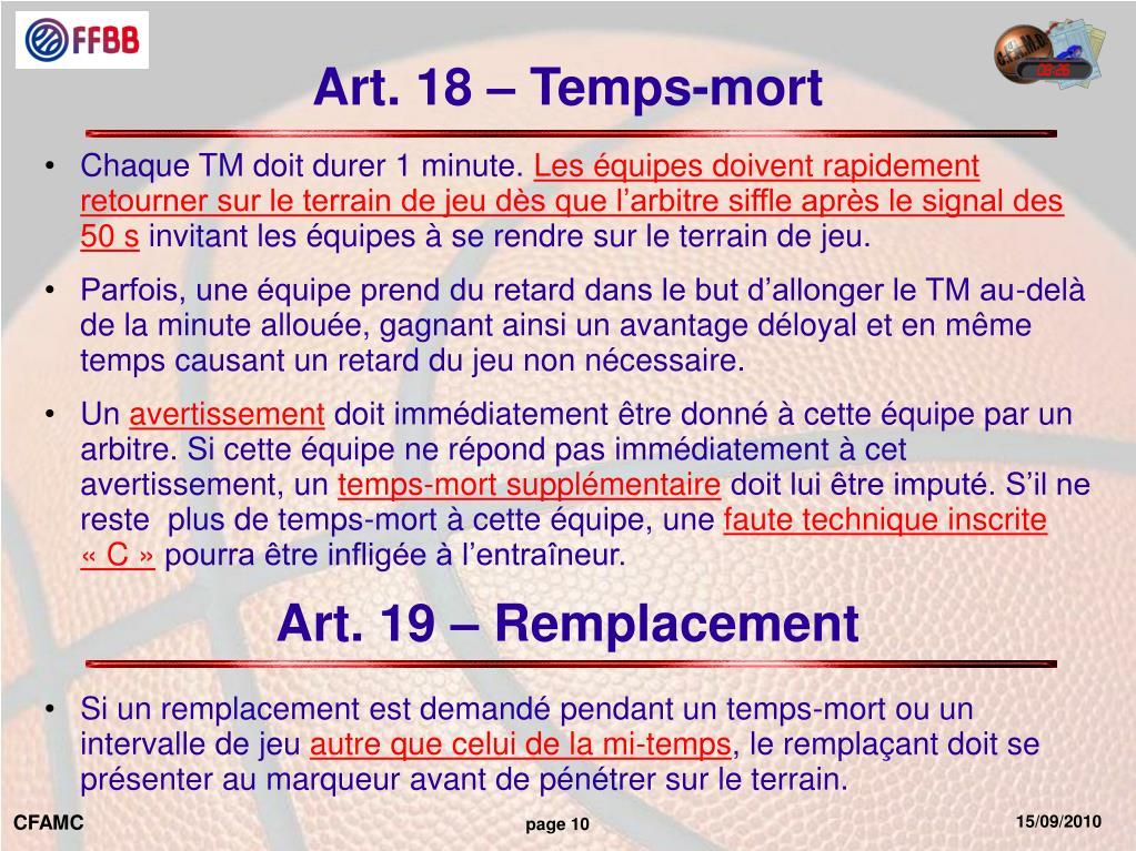 Art. 18 – Temps-mort