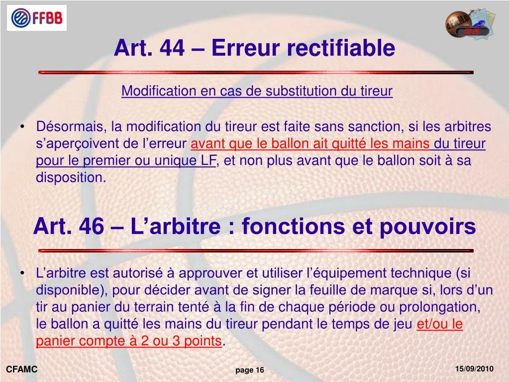 Art. 44 – Erreur rectifiable