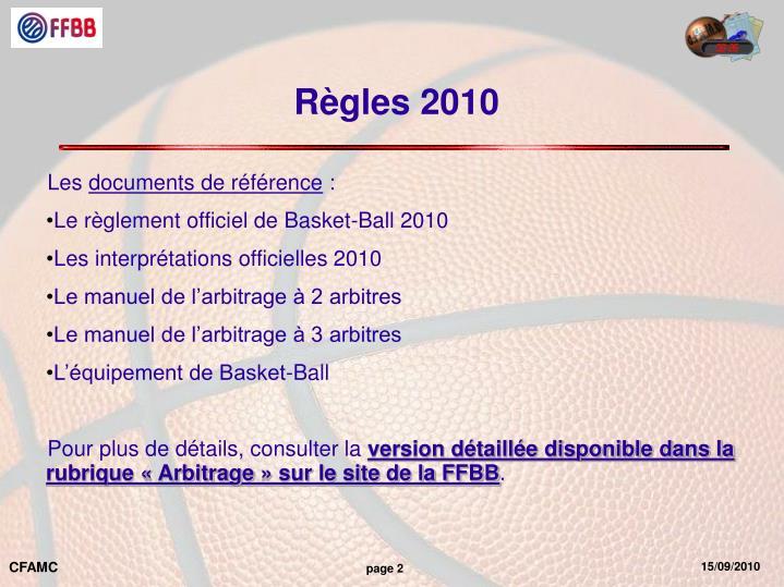 Règles 2010