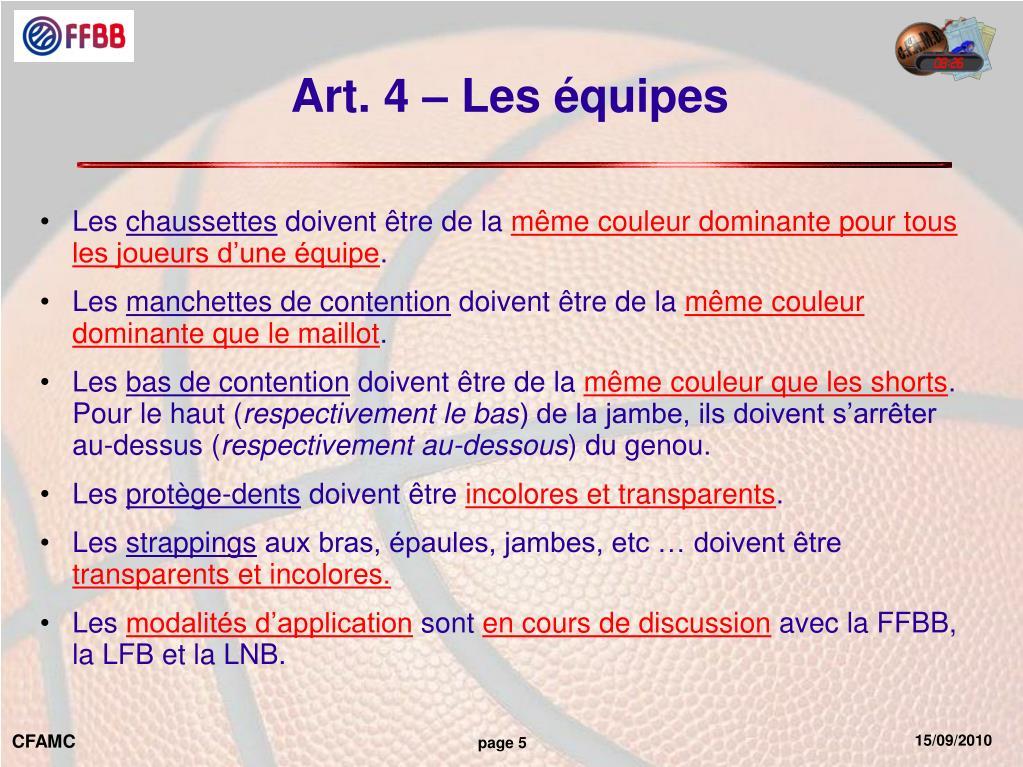 Art. 4 – Les équipes