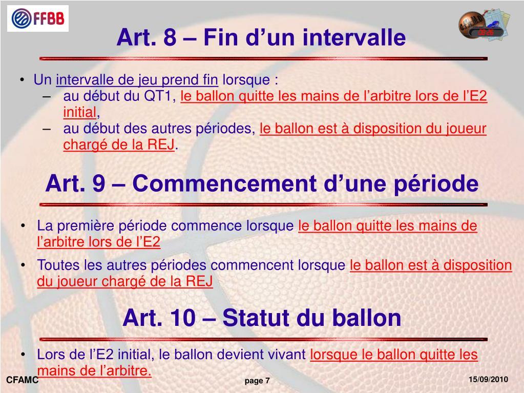 Art. 8 – Fin d'un intervalle