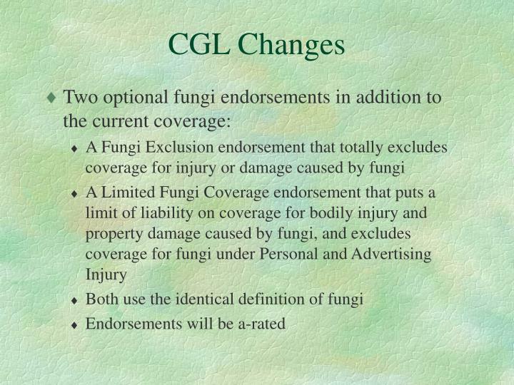 CGL Changes
