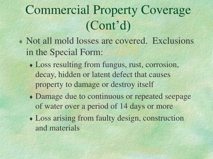 Commercial Property Coverage (Cont'd)