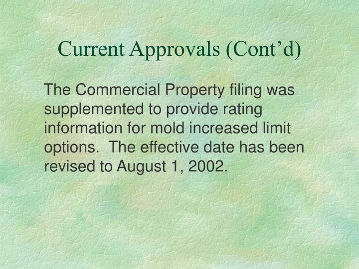 Current Approvals (Cont'd)