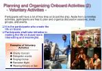 planning and organizing onboard activities 2 voluntary activities