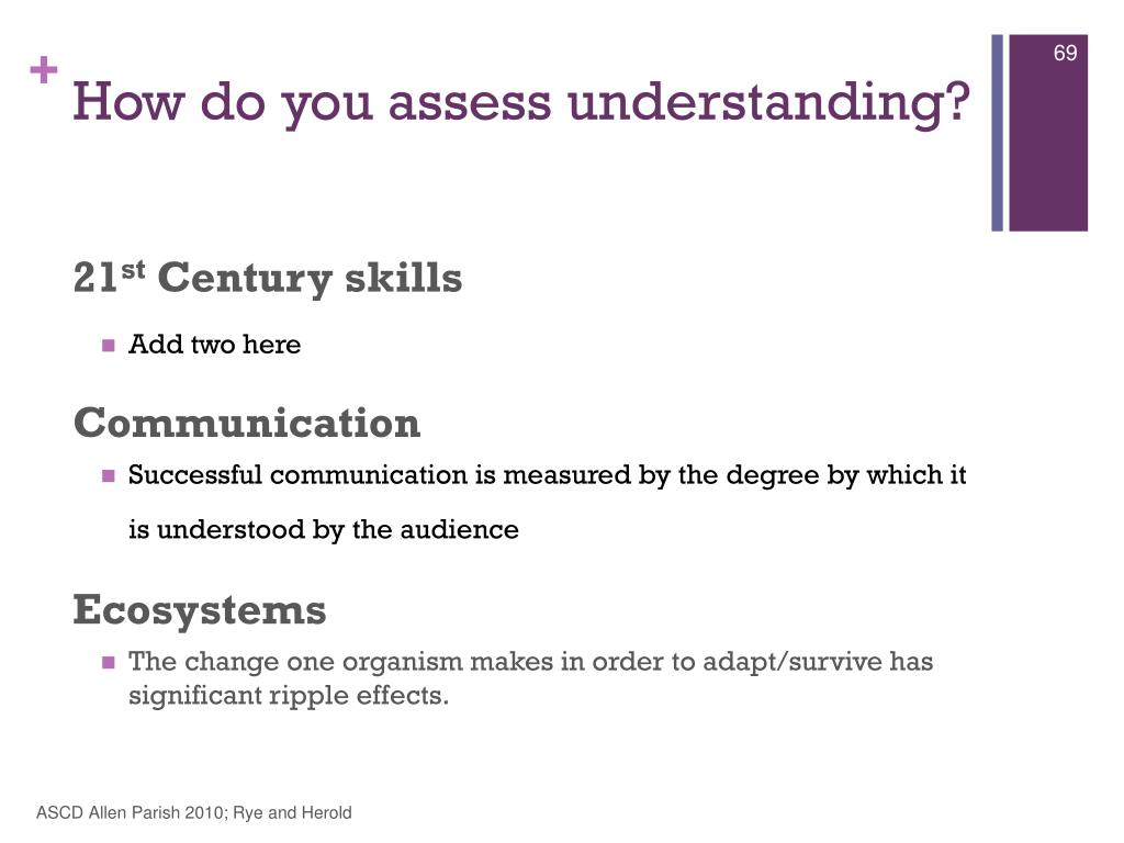 How do you assess understanding?