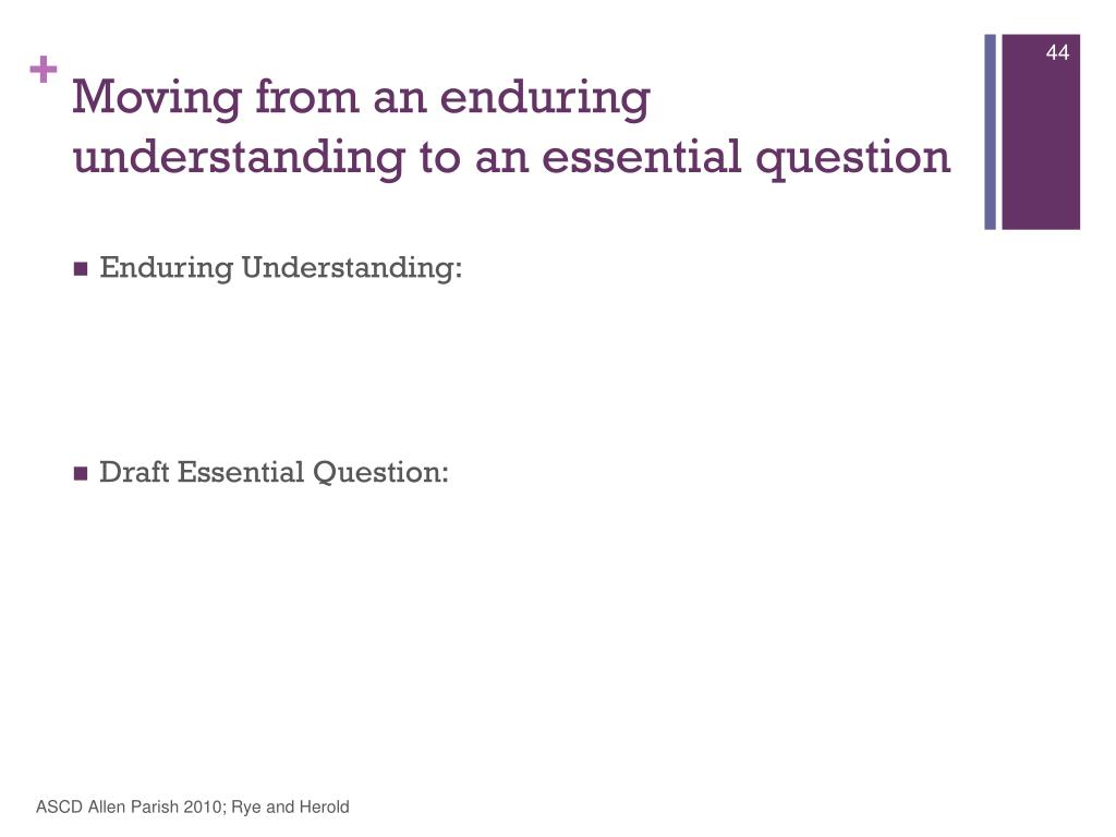 Moving from an enduring understanding to an essential question