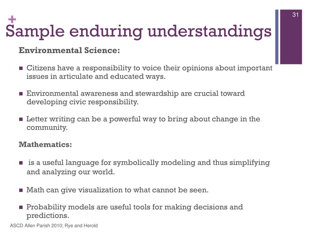 Sample enduring understandings